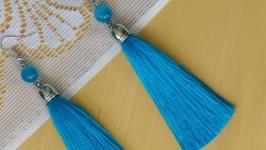Серьги голубые