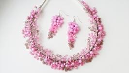 Розовый комплект украшений «зардевшаяся невеста»