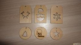 Бирка деревянная - новогодняя 6 шт