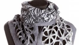 Серый шарф из шерсти мериноса
