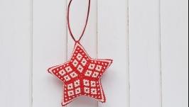 Новогодняя игрушка Звезда из бисера ручной работы