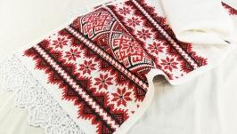 Рушник красно-черный Славянское вышитое полотенце Украинский рушник Свадьба