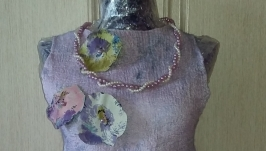 Платье-туника валяная на шелке