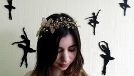 Обруч золотой с бабочками