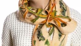 Бежевый шарф из шерсти мериноса
