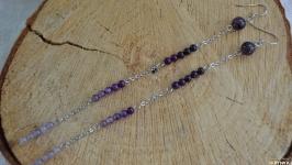 Серьги - цепочки фиолетовые с аметистом и агатом ′Градиент′