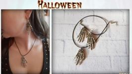 Набор украшений на Хэллоуин (серьги и кулон) «Рука скелета»