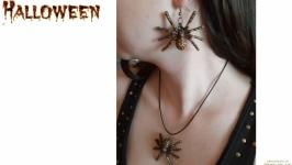 Набор украшений на Хэллоуин «Пауки» (серьги и кулон)