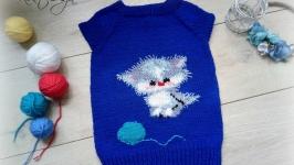 Вязанная детская жилетка с Котёнком.