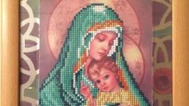 Алмазная картина, стилизованная, ′Богородица с младенцем′