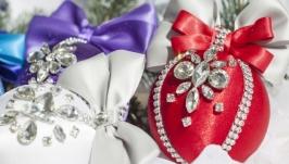 Сверкающие Новогодние шары ручной работы