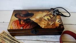 Мужская деревянная шкатулка ковбойская