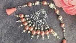 Комплект (Декоративные наконечники заглушки для спиц и маркеры для вязания)