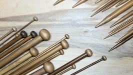 Спицы прямые для вязания, 25см 2-10 мм. Бамбуковые. Набор 36 шт.