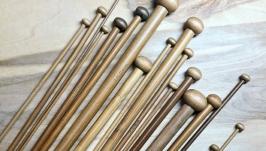 Спицы прямые для вязания, 35см 2-10 мм. Бамбуковые. Набор 36 шт.