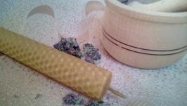 Свеча из вощины (пчелиный воск) с травами 12*2,1