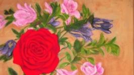 Картина масло холст Роза и аквилегии