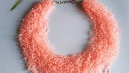Персиковое воздушное колье Яркое и необычное Оранжевое ожерелье Подарок