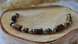 Браслет серебряный с тигровым глазом и гематитом ′Юпитер′