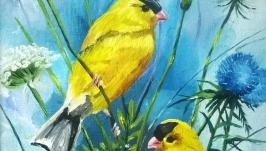 Картина маслом 20х15 Птички