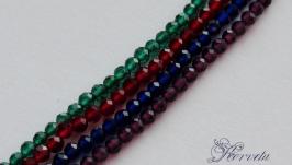 Шпинель натуральная синяя бусины (10 шт.) с ювелирной огранкой 2 мм