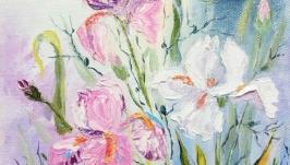 Картина маслом цветы ′Розовые ирисы′