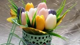 Мини букетики из мыла ′Тюльпаны в велосипеде′, ′Осенний букет′
