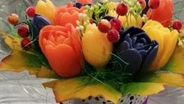 тут изображено Мини букетики из мыла ′15 тюльпанов′