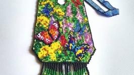 Гердан из бисера, необычный лучший подарок Бабочки из бисера