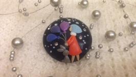 Брошь для девочки-мечтательницы: декор из глины