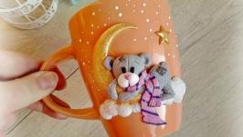 Чашка Кружка  Мишка на луне