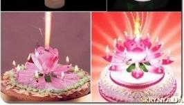 Поворотная музыкальная свеча для торта Цветок