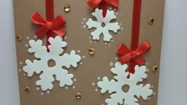 Открытка ручной работы ′Новогодние снежинки′