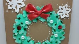 Открытка ручной работы ′Рождественский венок′