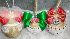 Новогодние шарики в стиле Рустик