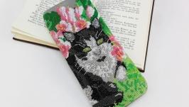 Футляр для очков из кожи Чехол для очков Вышитый очечник Кошка