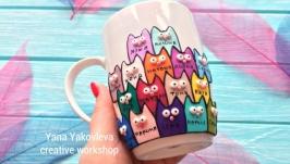 Чашка фарфоровая с котиками