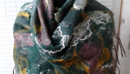 Женский валяный шарф  Зеленый