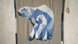 Панно из джинсы ′Белые медведи′