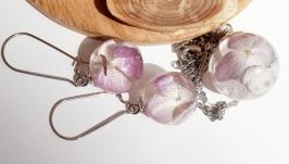 Комплект прикрас з гортензіями в ювелірній смолі
