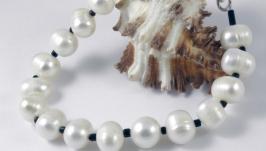 Браслет, натуральный пресноводный (речной) белый жемчуг