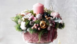 Великий новорічний підсвічник в ніжно-золотисто- розовому кольорі.