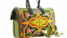 Большая парусиновая сумка Зеленая сумка Вышитая сумка с орнаментом