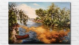 Картина маслом ′Тихая заводь′, 40х60 см, холст на подрамнике, масло