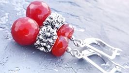 Сережки з натуральним граненим кварцем червоні