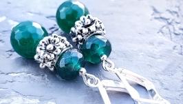 Сережки з натуральним граненим кварцем зелені смарагдові
