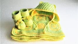 Комплект для новонародженого ′Черепашка′ (ковдра, шапочка і пінетки)
