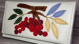Кожаный кошелёк ′Рябина′