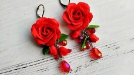 Серьги Красные розы