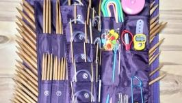 Набор 189шт. Спицы чулочные и круговые бамбуковые, крючки, инструменты